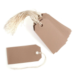 B2129 Tags: Rectangular Craft: 12 x 6cm: Pack of 10: Beige
